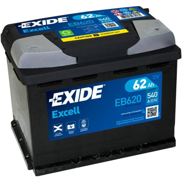 Batería Exide Excell EB620. 12V - 62Ah/540A (EN) Caja L2 (242x175x190mm)
