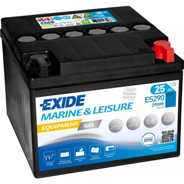 Batería Exide Marina Gel ES290. 12V - 25Ah/150A (EN) (166x175x125mm)