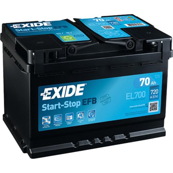 Batería Exide Efb EL700. Tecnología EFB. 12V - 70Ah/720A (EN) Caja L3 (278x175x190mm)