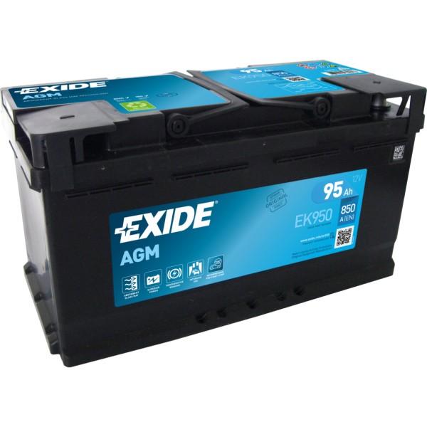 Batería Exide Agm EK950. 12V - 95Ah/850A (EN) Caja L5 (353x175x190mm)