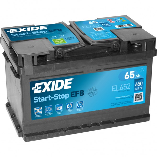 Batería Exide Efb EL652. 12V - 65Ah/650A (EN) Caja LB3 (278x175x175mm)