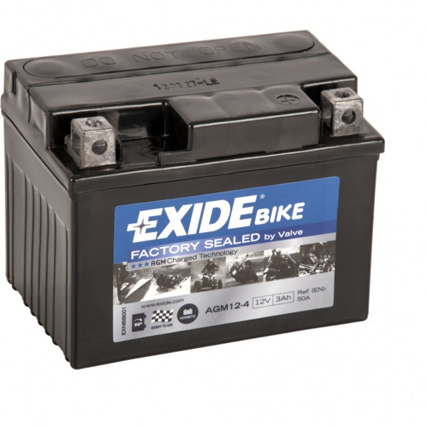 Batería Exide Moto 12V Agm Ready AGM12-4. 12V - 3Ah/50A (EN) (115x70x85mm)
