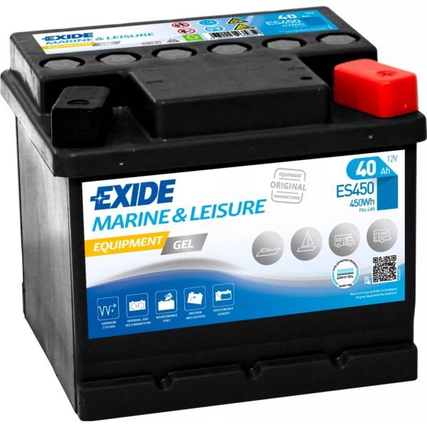 Batería Exide Marina Gel ES450. 12V - 40Ah/280A (EN) Caja LB1 (207x175x175mm)
