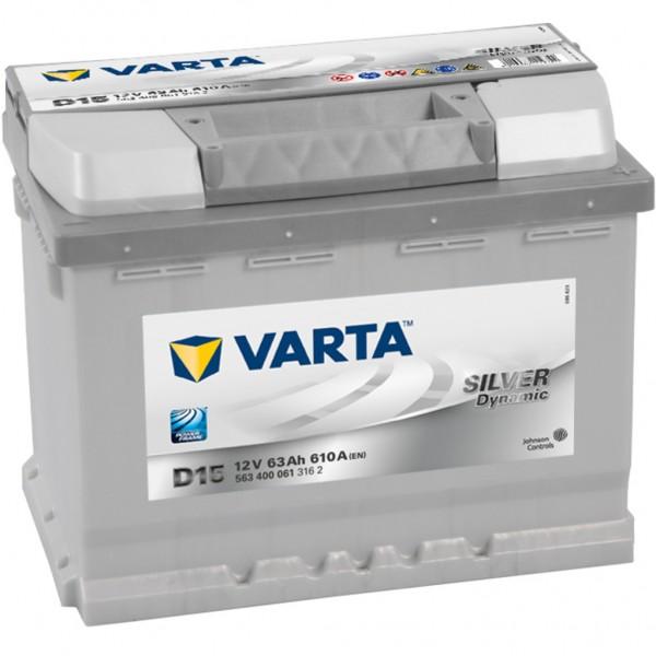 Batería Varta Silver Dynamic D15. 12V - 63Ah/610A (EN) Caja L2 (242x175x190mm)