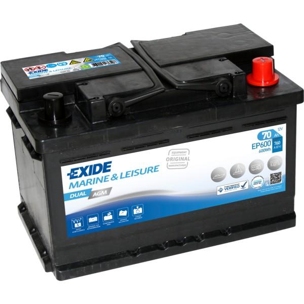 Batería Exide Marina Dual EP600. 12V - 70Ah/760A (EN) Caja L3 (278x175x190mm)