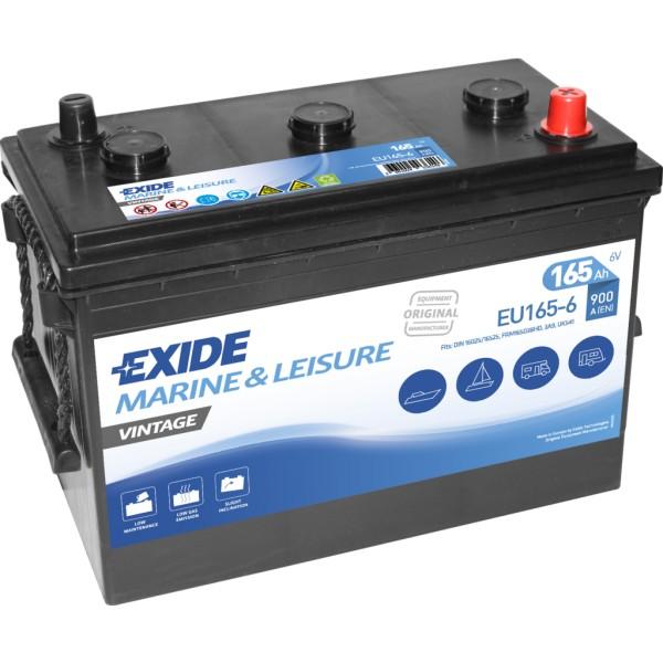 Batería Exide Marina Vintage EU165-6. 6V - 165Ah/900A (EN) (330x174x234mm)