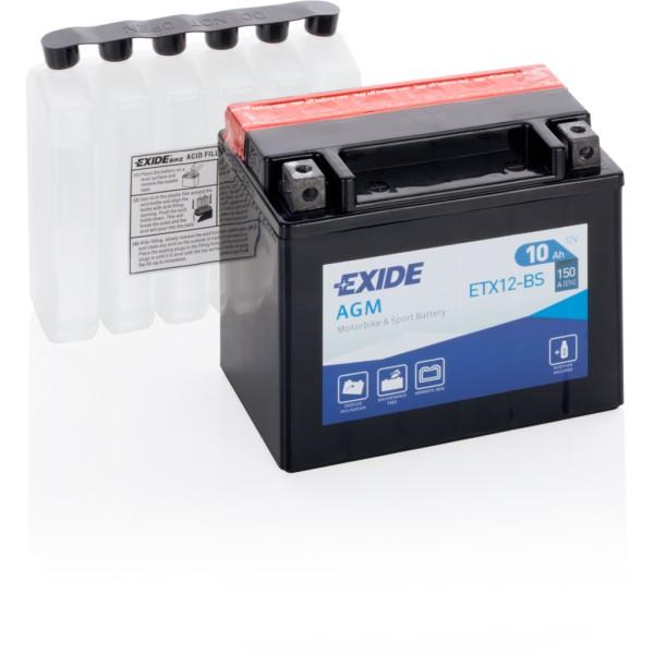 Batería Exide Moto 12V Agm ETX12-BS. 12V - 10Ah/150A (EN) (150x90x130mm)