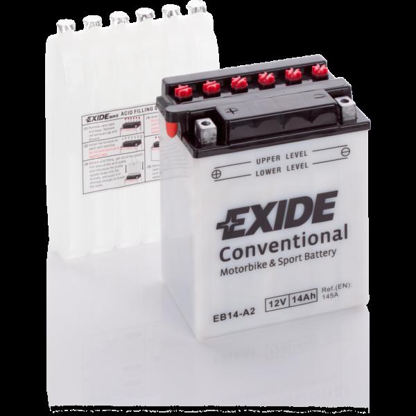 Batería Exide Moto 12V Conventional EB14-A2. 12V - 14Ah/145A (EN) (135x90x165mm)