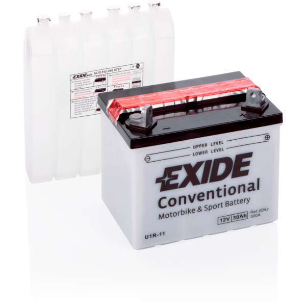 Batería Exide Moto 12V Conventional U1R-11. 12V - 30Ah/300A (EN) (196x130x180mm)