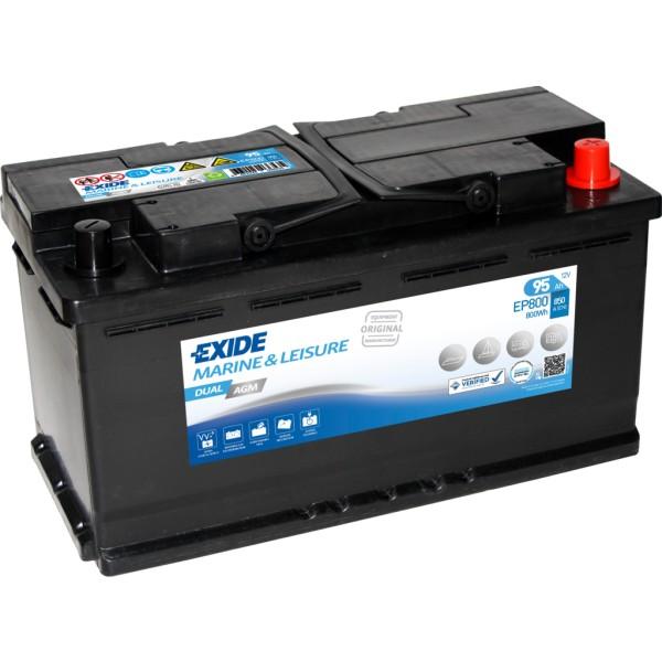 Batería Exide Marina Dual EP800. 12V - 95Ah/850A (EN) Caja L5 (353x175x190mm)