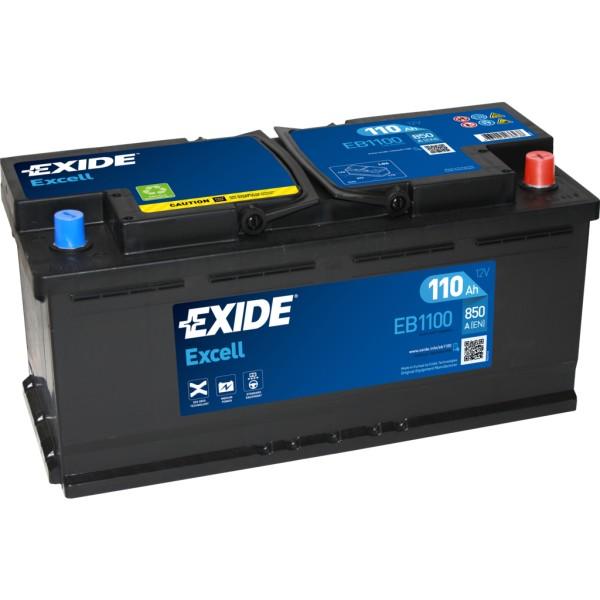 Batería Exide Excell EB1100. 12V - 110Ah/850A (EN) Caja L6 (392x175x190mm)