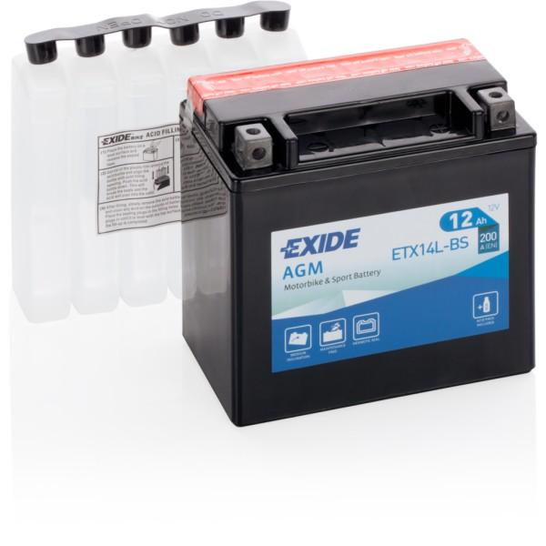 Batería Exide Moto 12V Agm ETX14L-BS. 12V - 12Ah/200A (EN) (150x90x145mm)