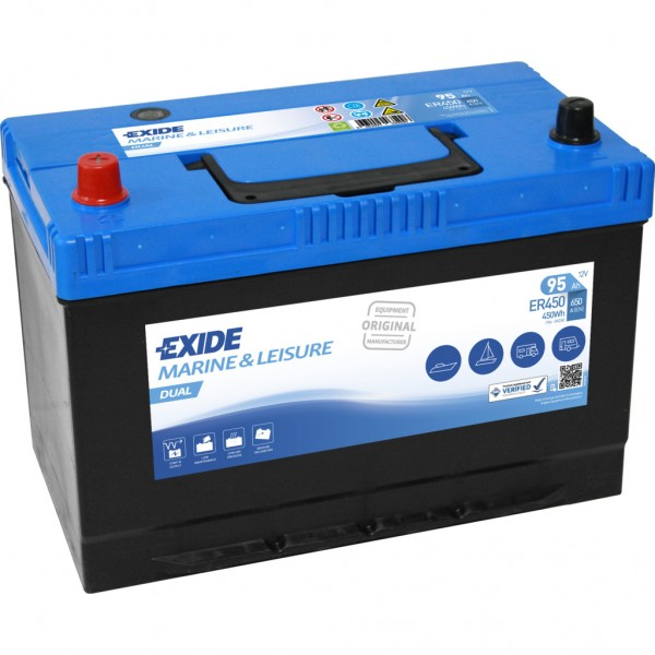 Batería Exide Marina Dual ER450. 12V - 80Ah/510A (EN) Caja M27 (306x175x225mm)