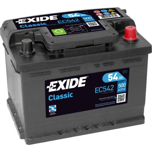 Batería Exide-Classic EC542. 12V - 54Ah/500A (EN) Caja LB2 (242x175x175mm)