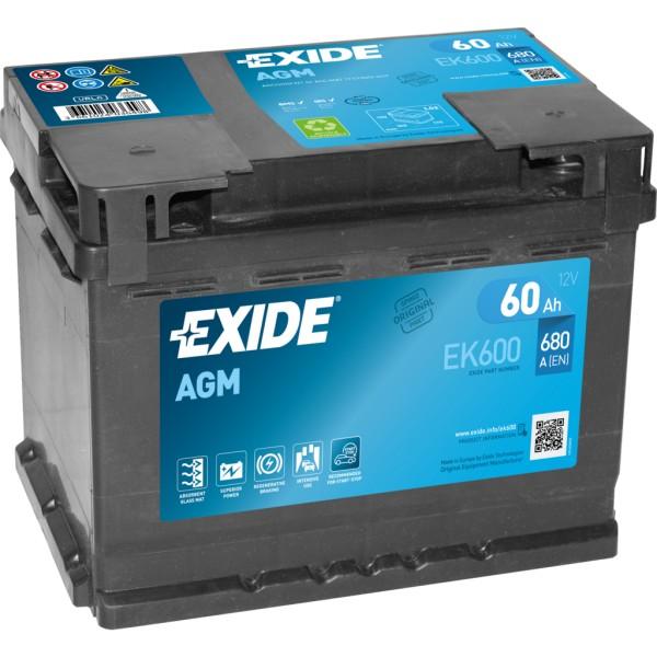 Batería Exide Agm EK600. Tecnología AGM. 12V - 60Ah/680A (EN) Caja L2 (242x175x190mm)