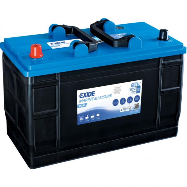 Batería Exide Marina Dual ER550. 12V - 115Ah/760A (EN) Caja LOT7 (349x175x235mm)