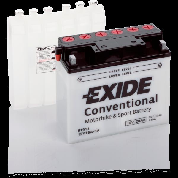 Batería Exide Moto 12V Conventional 12Y16A-3A. 12V - 20Ah/210A (EN) (185x80x170mm)