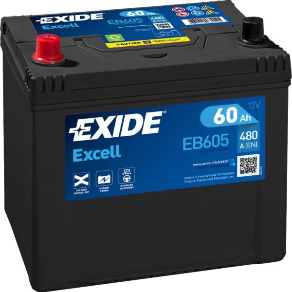 Batería Exide Excell EB605. 12V - 60Ah/390A (EN) Caja D23 (230x173x222mm)