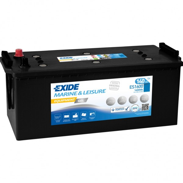 Batería Exide Marina Gel ES1600. 12V - 140Ah/900A (EN) Caja B (513x223x223mm)