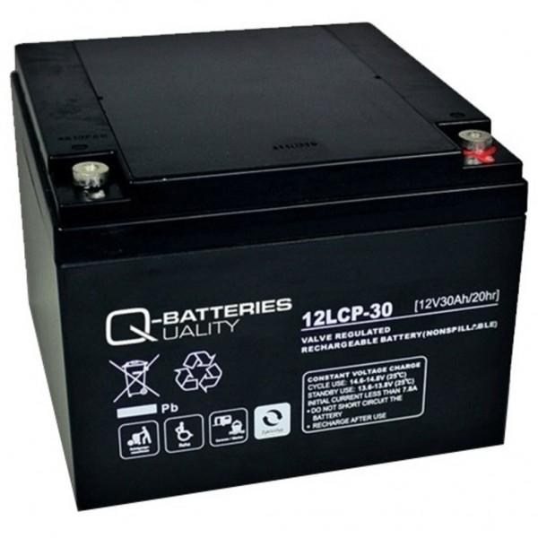 Batería Qbatteries Agm Deep Cycle Battery 12LCP-30. Tecnología AGM. 12V - 30Ah (166x175x125mm)