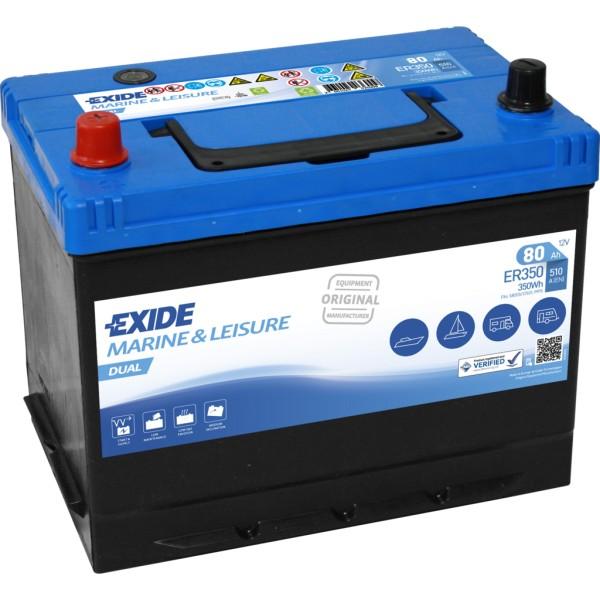 Batería Exide Marina Dual ER350. 12V - 80Ah/510A (EN) Caja D26 (270x173x222mm)
