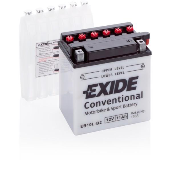 Batería Exide Moto 12V Conventional EB10L-B2. 12V - 11Ah/130A (EN) (135x90x145mm)