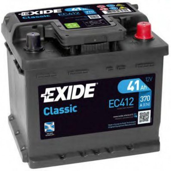 Batería Exide-Classic EC412. 12V - 41Ah/370A (EN) Caja LB1 (207x175x175mm)