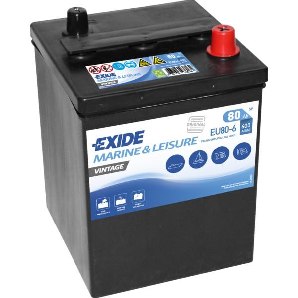 Batería Exide Marina Vintage EU80-6. 6V - 80Ah/600A (EN) (158x165x220mm)