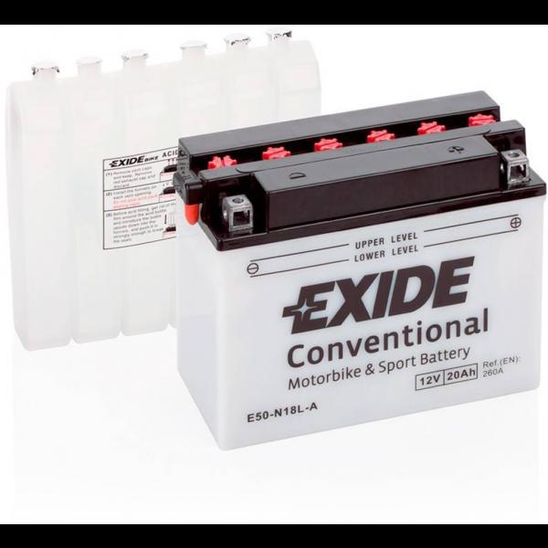 Batería Exide Moto 12V Conventional E50-N18L-A. 12V - 20Ah/260A (EN) (205x90x165mm)