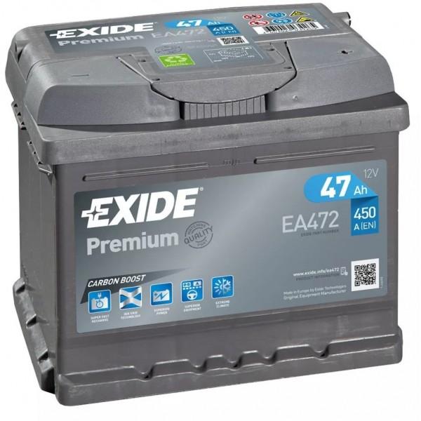 Batería Exide Premium EA472. 12V - 47Ah/450A (EN) Caja LB1 (207x175x175mm)