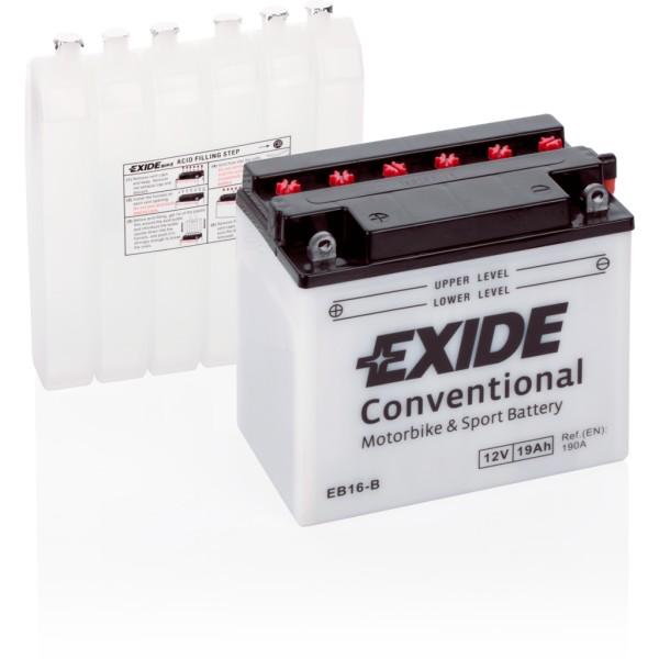 Batería Exide Moto 12V Conventional EB16-B. 12V - 19Ah/190A (EN) (175x100x155mm)