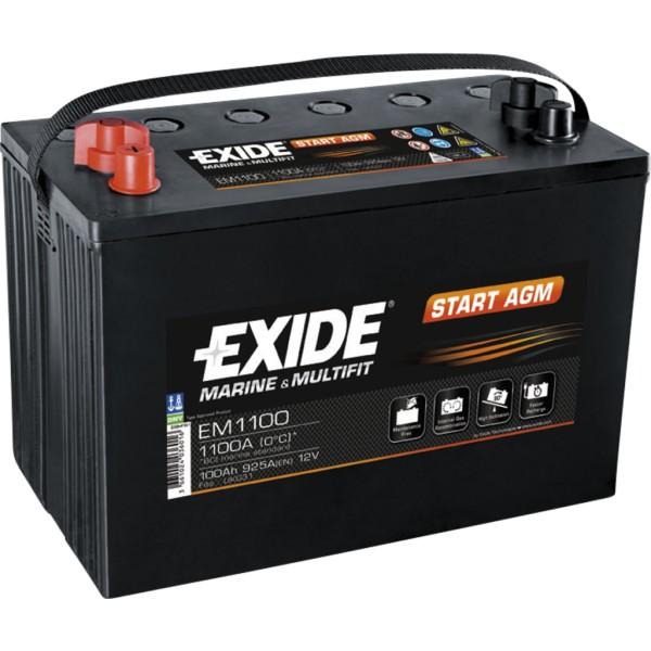 Batería Exide EM1100. 12V - 100Ah/925A (EN) Caja M31 (330x173x240mm)