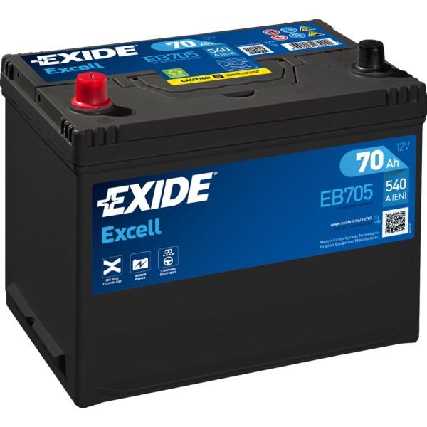 Batería Exide Excell EB705. 12V - 70Ah/540A (EN) Caja D26 (270x173x222mm)