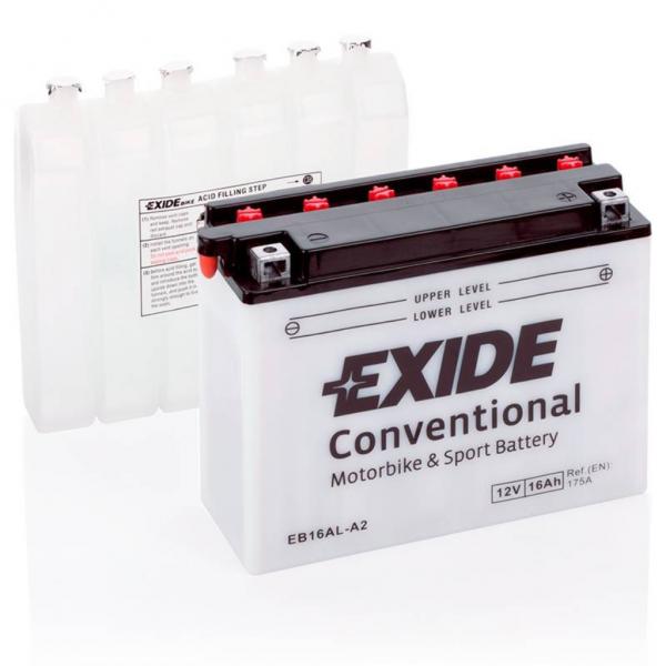 Batería Exide Moto 12V Conventional EB16AL-A2. 12V - 16Ah/175A (EN) (205x70x165mm)