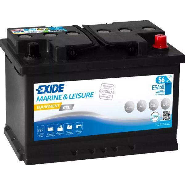 Batería Exide Marina Gel ES650. 12V - 56Ah/410A (EN) Caja L3 (278x175x190mm)