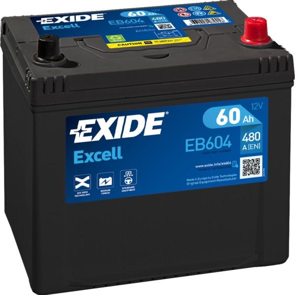 Batería Exide Excell EB604. 12V - 60Ah/390A (EN) Caja D23 (230x173x222mm)