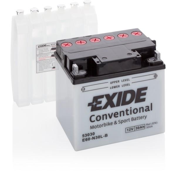 Batería Exide Moto 12V Conventional E60-N30L-B. 12V - 30Ah/300A (EN) (185x128x168mm)