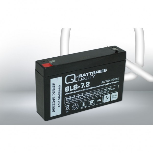 Batería Qbatteries Agm Standard 6LS-7.2. Tecnología AGM. 6V - 7,2Ah (151x34x94mm)