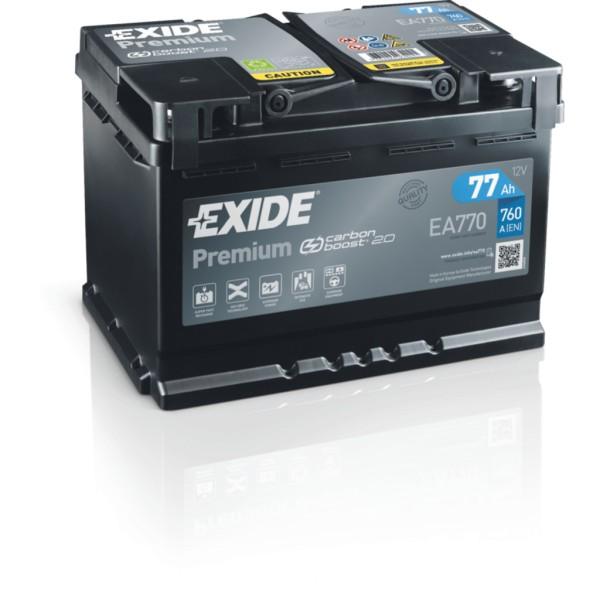 Batería Exide Premium EA770. 12V - 77Ah/760A (EN) Caja L3 (278x175x190mm)