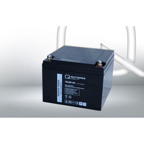 Batería Qbatteries Agm Long Life 12LSX-24. Tecnología AGM. 12V - 24Ah (166x175x125mm)