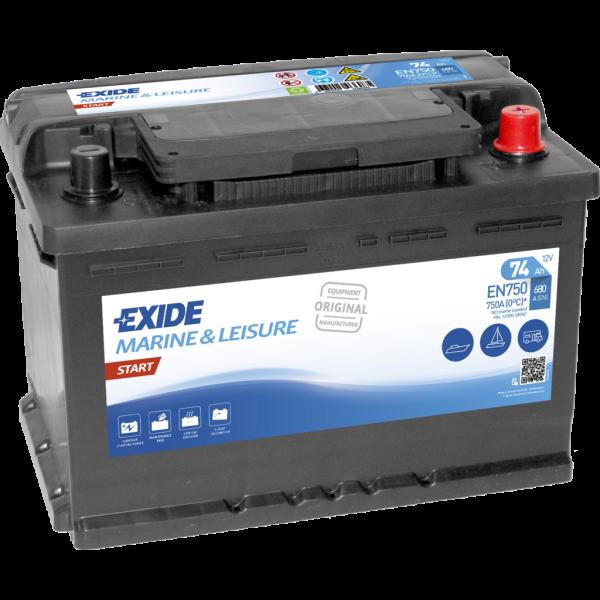 Batería Exide Marina Start EN750. 12V - 74Ah/680A (EN) Caja L3 (278x175x190mm)