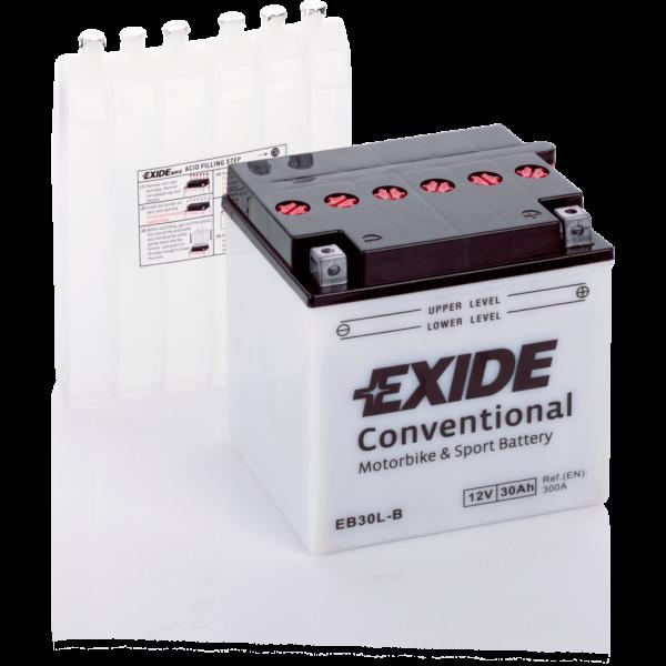 Batería Exide Moto 12V Conventional EB30L-B. 12V - 30Ah/300A (EN) (165x130x175mm)