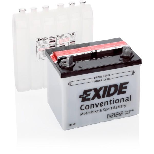 Batería Exide Moto 12V Conventional U1-9. 12V - 24Ah/240A (EN) (195x130x180mm)