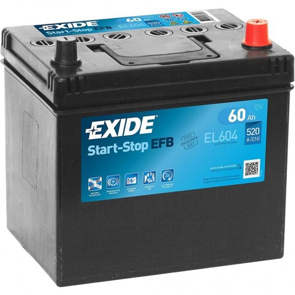 Batería Exide Efb EL604. 12V - 60Ah/520A (EN) Caja D23 (230x173x222mm)