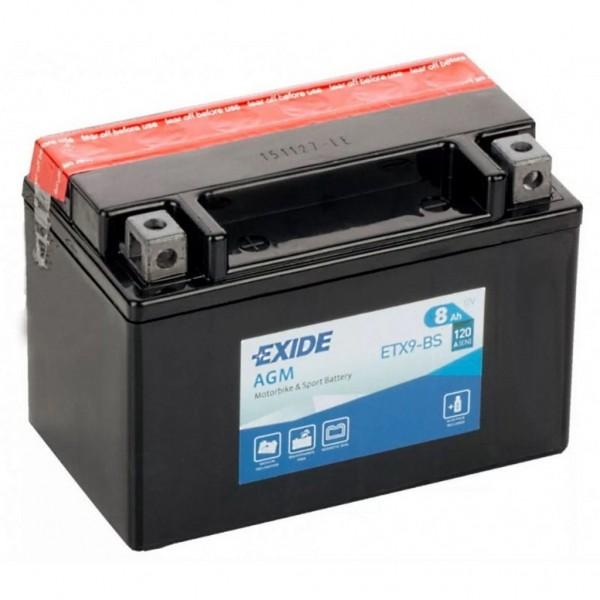Batería Exide Moto 12V Agm ETX9-BS. 12V - 8Ah/120A (EN) (150x90x105mm)