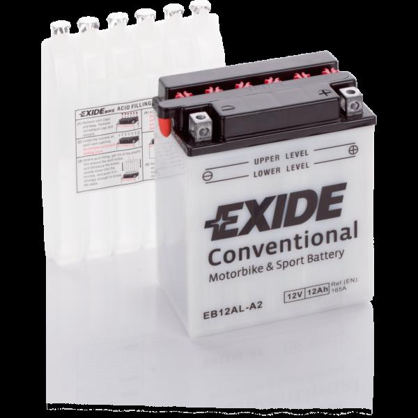 Batería Exide Moto 12V Conventional EB12AL-A2. 12V - 12Ah/165A (EN) (135x80x160mm)