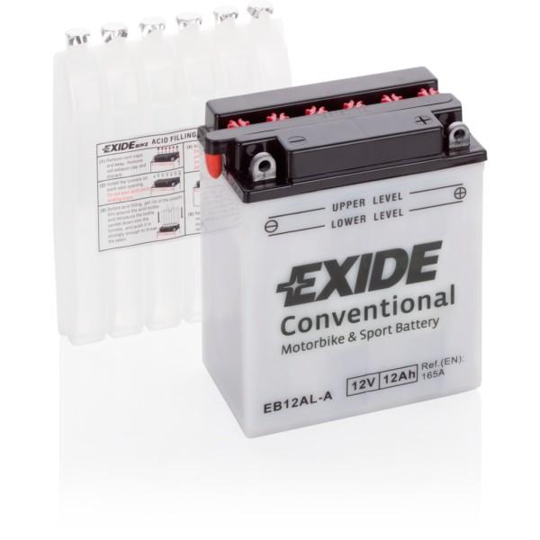 Batería Exide Moto 12V Conventional EB12AL-A. 12V - 12Ah/165A (EN) (135x80x160mm)