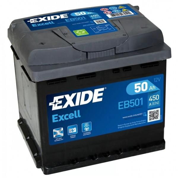 Batería Exide Excell EB501. 12V - 50Ah/450A (EN) Caja L1 (207x175x190mm)