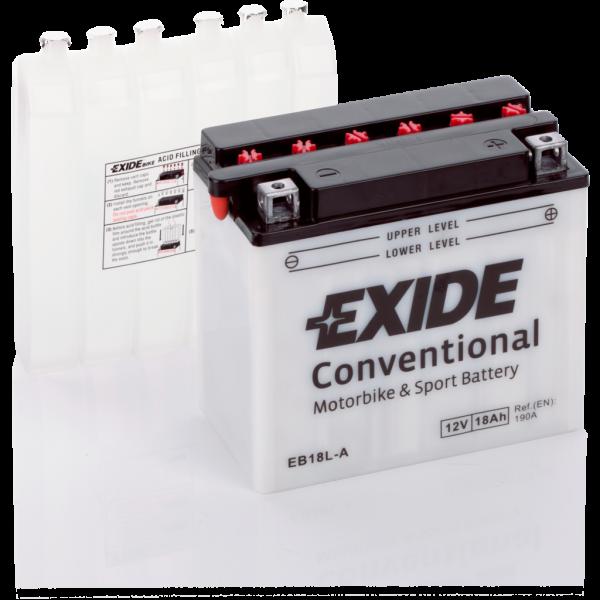 Batería Exide Moto 12V Conventional EB18L-A. 12V - 18Ah/190A (EN) (180x90x160mm)