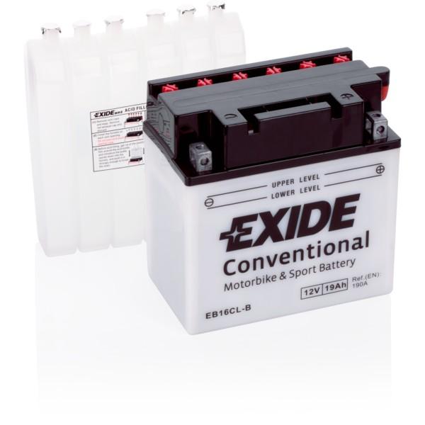 Batería Exide Moto 12V Conventional EB16CL-B. 12V - 19Ah/190A (EN) (175x100x175mm)